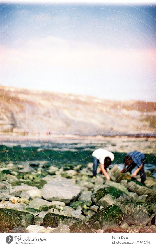 TREASURE HUNT Mensch Sommer Freude Strand Landschaft Küste Stein 2 Zusammensein Felsen Suche beobachten Neugier berühren Hemd entdecken