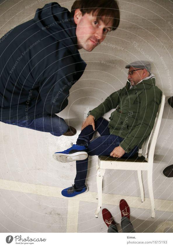 Tlön | another time another space Stuhl maskulin feminin 4 Mensch Parkhaus Linie Streifen beobachten Blick sitzen außergewöhnlich fantastisch Neugier verrückt