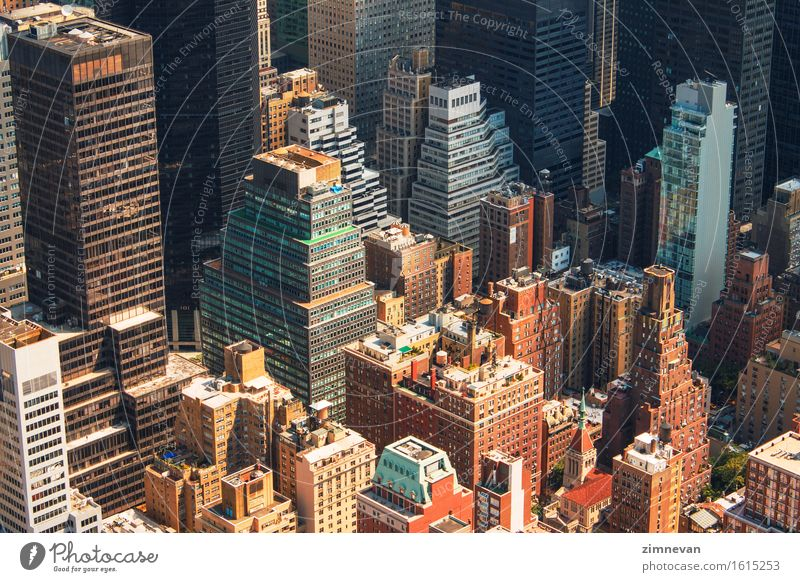 New York City Manhattan Skyline Luftaufnahme Ferien & Urlaub & Reisen Stadt Sommer Architektur Gebäude Business Tourismus Büro Hochhaus historisch USA