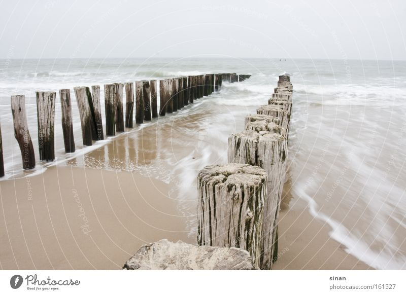 Zeeland, Nordsee Wasser Meer Strand kalt Holz Sand Wellen Küste Wetter nass Horizont Niederlande trüb schlechtes Wetter
