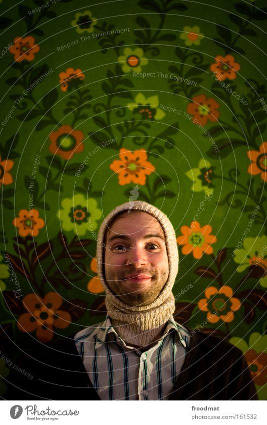 blumenkind Mann Blume Freude lachen lustig Beleuchtung leuchten Dekoration & Verzierung retro Lächeln Porträt Mütze Bart Tapete grinsen Humor