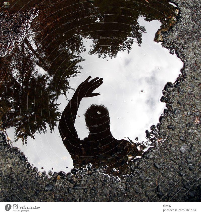 Time. Out. Schatten Silhouette Wasser Himmel Baum Wald Wege & Pfade Leidenschaft Pfütze Gruß
