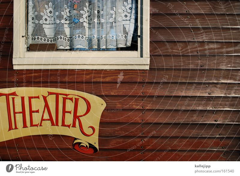 vorhang auf Haus Fenster Holz Kunst Schilder & Markierungen Kultur Show Theater Eingang Vorhang Zirkus Wagen Holzwand Schauspieler Banderole