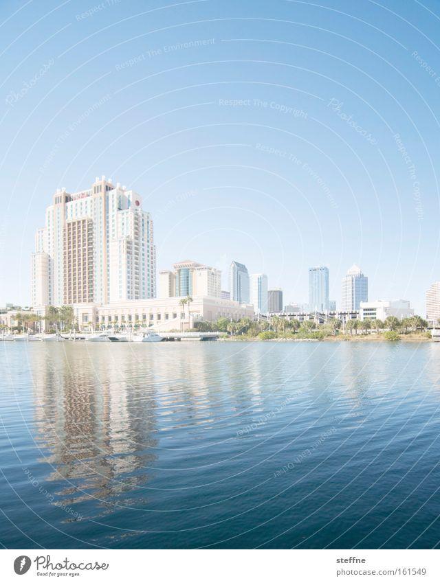 Ansichtskarte Wasser Sonne Meer Haus Küste Hochhaus USA Skyline Bucht Seeufer Stadtzentrum Flussufer Florida Tampa