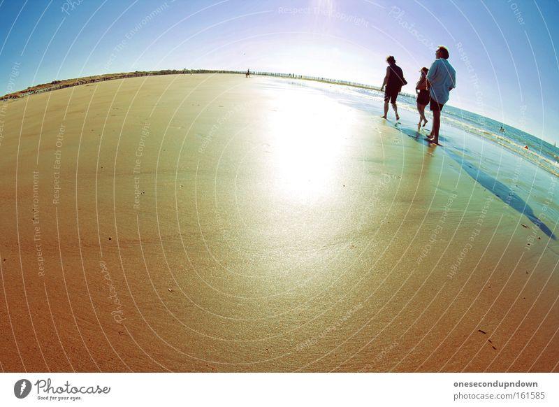 Small World Fischauge Strand Mensch Ferien & Urlaub & Reisen Sonne Wärme Meer Nordsee Sand Himmel Freizeit & Hobby Außenaufnahme Tag Freude Küste