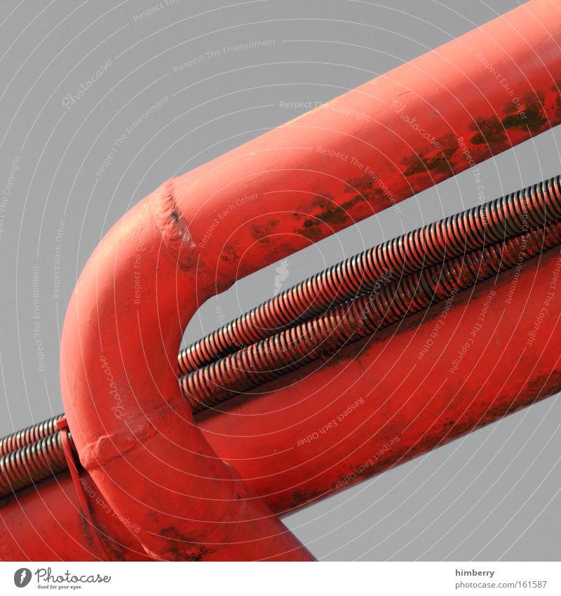 red tube alt rot grau Kraft dreckig Design Industrie Energiewirtschaft Zukunft Technik & Technologie Industriefotografie Fabrik Baustelle Wissenschaften