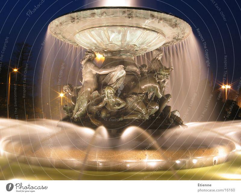 Springbrunnen, Albertplatz Dresden historisch Nacht Sachsen