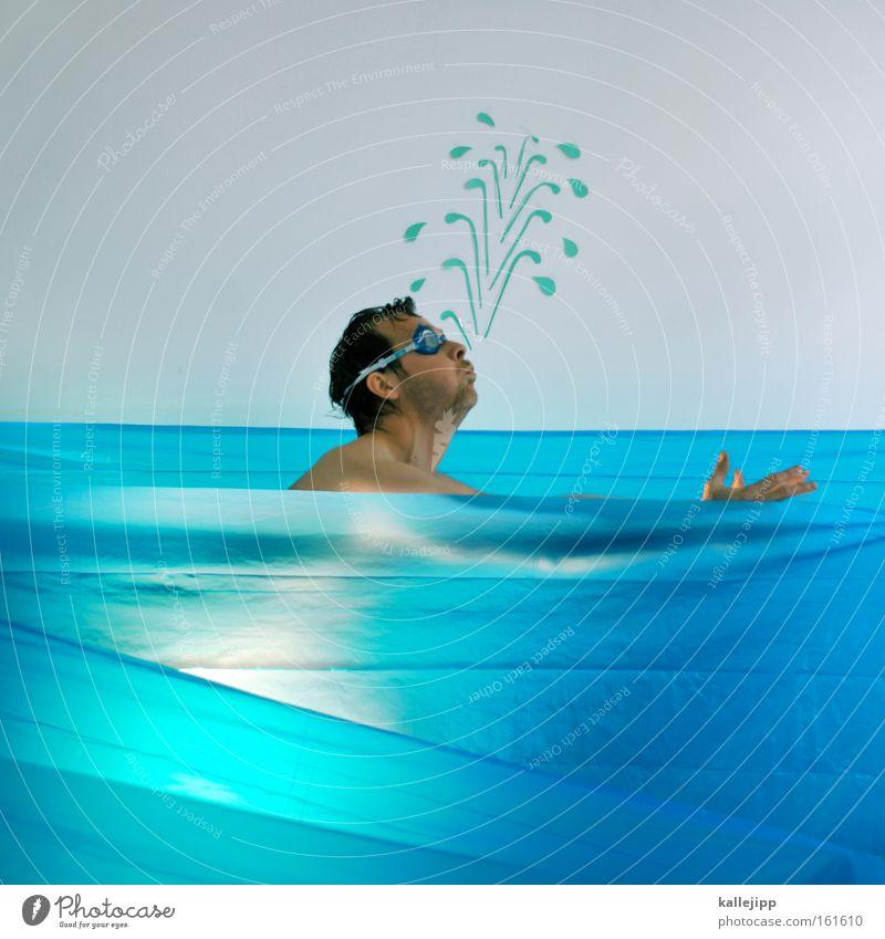 freischwimmer Mensch Mann Wasser Meer Sport nackt Fisch Schwimmsport tauchen Comic spritzen Witz Wassersport Rettungsschwimmer Lebensmittel