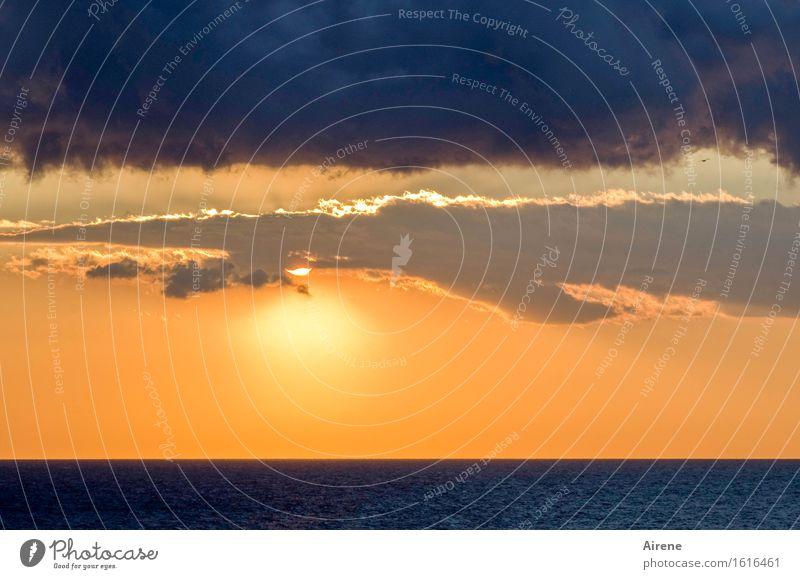bis in den späten Abend... Himmel blau schön Wasser Sonne Meer Landschaft Wolken ruhig natürlich Religion & Glaube orange Wetter glänzend leuchten gold
