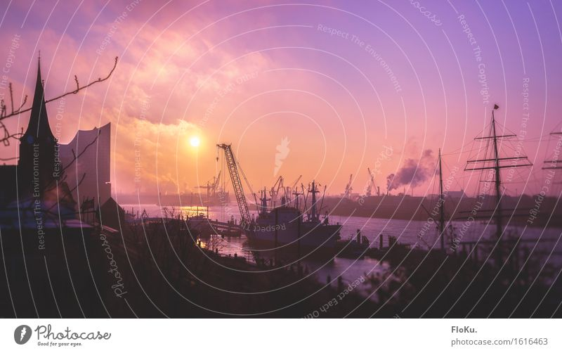 Elbe im Morgenrot Stadt Wasser Wärme Stimmung rosa Wasserfahrzeug Tourismus Luft Verkehr Hamburg Fluss violett Bauwerk Hafen Skyline Sehenswürdigkeit