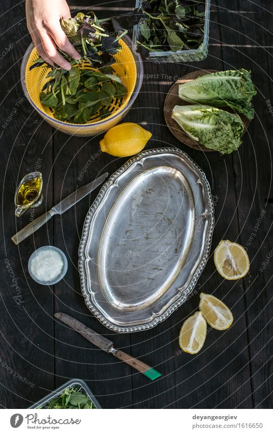 Vorbereiten Salat aus Kräutern und Salat grün Essen natürlich frisch Tisch Aussicht Kochen & Garen & Backen einfach Kräuter & Gewürze Küche Gemüse