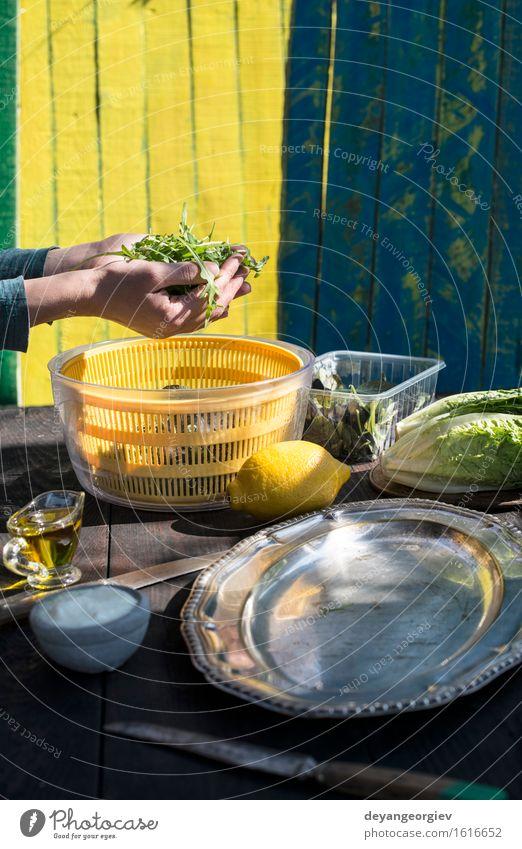 Salat des natürlichen Lichtes des Arugula vorbereiten Gemüse Ernährung Abendessen Vegetarische Ernährung Diät Teller Natur Blatt Holz frisch lecker grün