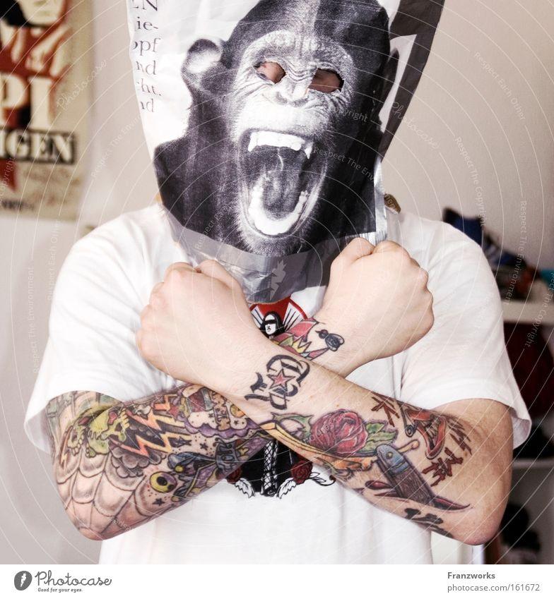 Kiss me I'm Punk mehrfarbig Freude Mann Erwachsene Tattoo Maske lustig Wut Kraft Affen Karnevalskostüm Kostüm Witz Punkrock Generation gekreuzt affig