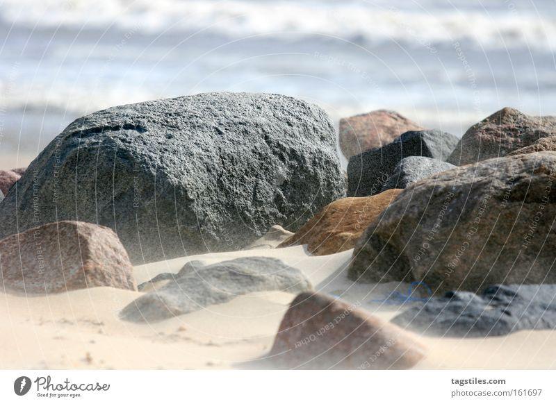 MOND AUF ERDEN Sommer Strand Stein Sand Erde Küste Wind Vergänglichkeit Sturm Mond Brandung Staub Mars Mineralien Planet