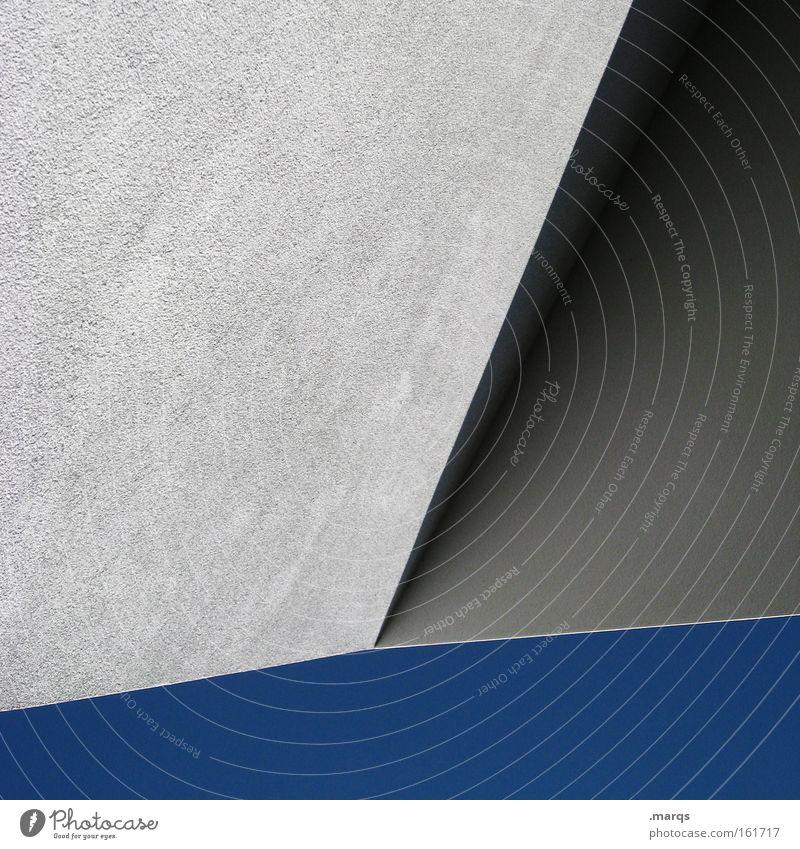 Falz Farbfoto Detailaufnahme Textfreiraum links Textfreiraum rechts Textfreiraum unten Schatten Wolkenloser Himmel Gebäude Architektur Beton Linie modern blau