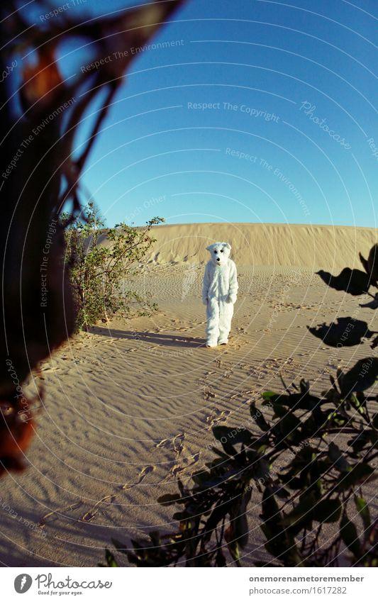 Alter ist das weit... Kunst Kunstwerk ästhetisch Eisbär Bär weiß laufen Arbeit & Erwerbstätigkeit Spaziergang Kostüm Einsamkeit Menschenleer Wüste Wärme heiß