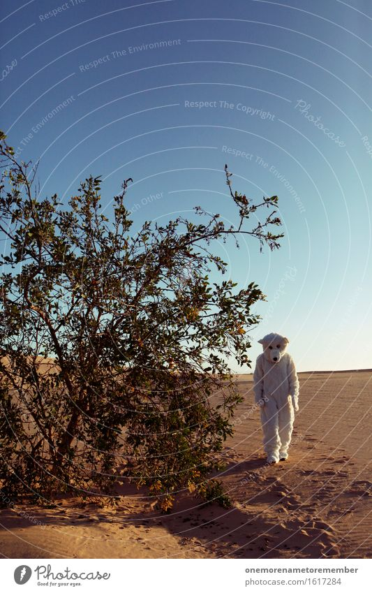 Eisbär in der Wüste Kunst ästhetisch Kostüm verkleidet laufen Sträucher Himmel Sand gehen Einsamkeit Fell Horizont fantastisch Farbfoto mehrfarbig Außenaufnahme