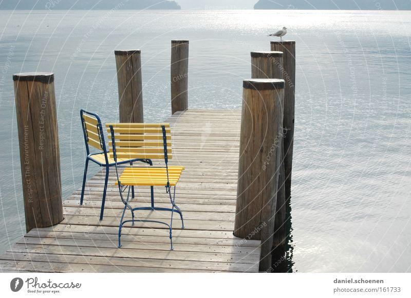 have a seat Herbst Stuhl ruhig Wasser Berge u. Gebirge Alpen Licht Schatten Schweiz See Einsamkeit gelb blau grau