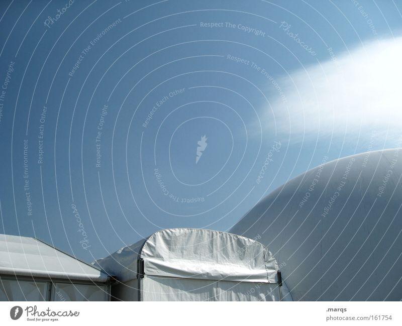 Exhibition Himmel weiß blau Wolken Industrie modern Energiewirtschaft rund Dach Wissenschaften Kugel Messe Camping Ausstellung Zelt Musikfestival