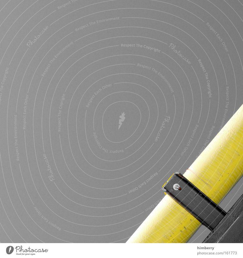 cutty pipe gelb Metall Design Industrie Energiewirtschaft Zukunft Industriefotografie Fabrik einfach Baustelle Wissenschaften Stahl Röhren Handwerk Eisenrohr Leitung