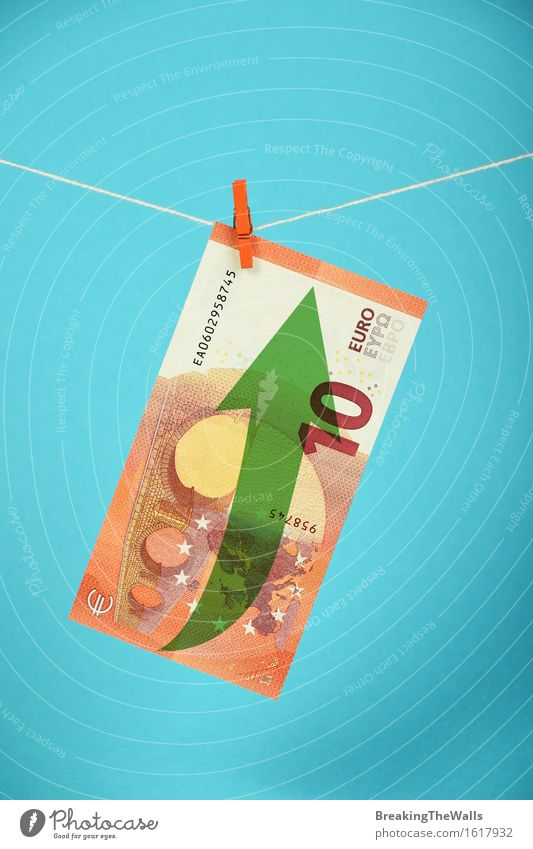 Wachstum der europäischen Wirtschaft, Stärkung der Euro-Währung Geld Kapitalwirtschaft Börse Business Seil Eurozeichen Pfeil hängen stark blau grün Optimismus