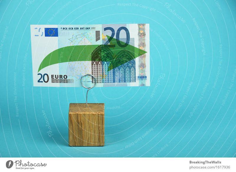 Stagnation und Unterstützung der europäischen Wirtschaft und Euro-Währung Geld Kapitalwirtschaft Börse Business Eurozeichen Pfeil stark blau grün Zufriedenheit