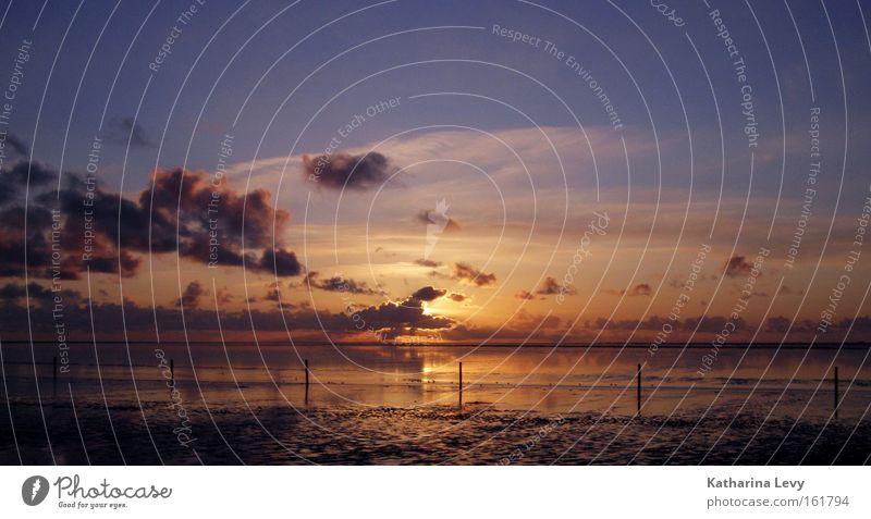 sundowner Nordsee Sonnenuntergang Strand Norddeich Wolken Meer Wasser Sand schön Küste Himmel Norden