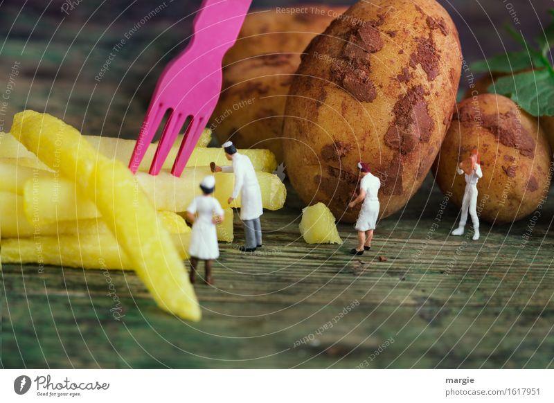 Miniwelten - In der Pommes Fabrik gelb Essen Lebensmittel braun Ernährung Gemüse Mittagessen