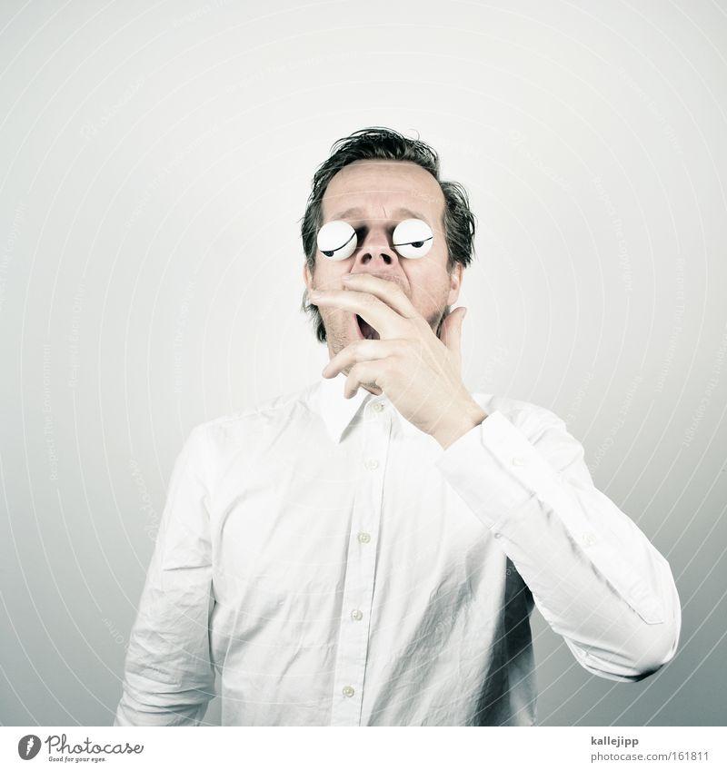 frühjahrsmüdigkeit Mann Mensch Müdigkeit gähnen träumen Verhalten Hemd weiß Auge Comic Glubschauge schlaflosigkeit hand vor den mund