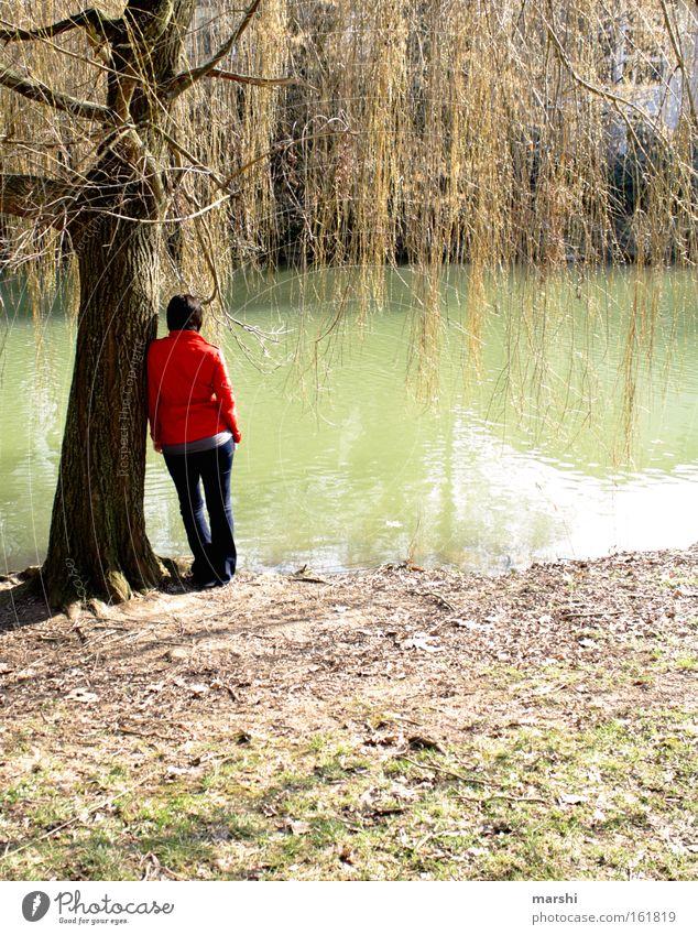 die mit der roten Jacke Farbfoto Außenaufnahme Tag Rückansicht Mensch Frau Erwachsene Rücken 1 Natur Pflanze Tier Wasser Frühling Wetter Wiese Küste Flussufer