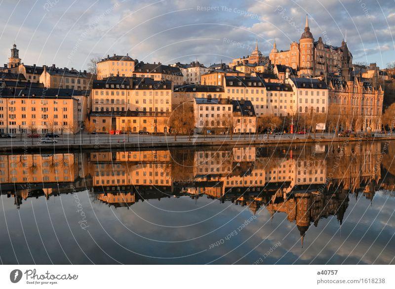 Stockholm Böschung Ferien & Urlaub & Reisen Stadt Wasser Wolken Architektur Küste Tourismus Kultur Seil Hafen Stadtzentrum Schweden horizontal Wolkenhimmel