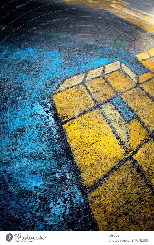 abstrakte Sache Stil Jugendkultur Graffiti außergewöhnlich einzigartig rebellisch trashig blau gelb Design Farbe Kreativität Kunst Wandel & Veränderung Asphalt