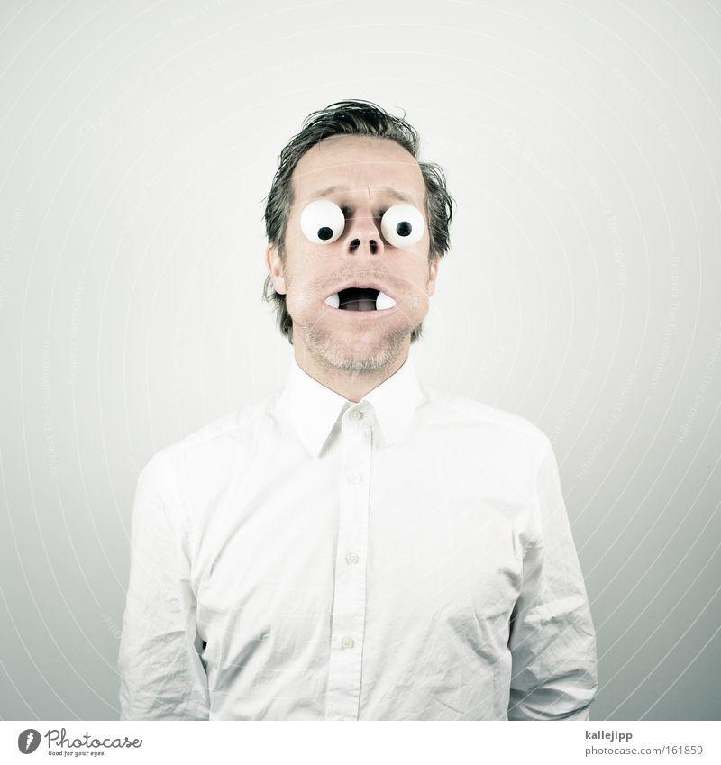 den mund zu voll nehmen Mensch Mann weiß Auge Hemd Wange Comic Schock Pupille Glubschauge Augenzeuge