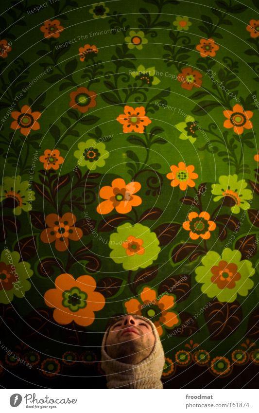 blühende landschaften Hippie Mann Bart Blick Zukunft grinsen Freude Blume Tapete Porträt lustig Humor Mütze Frühling schön retro