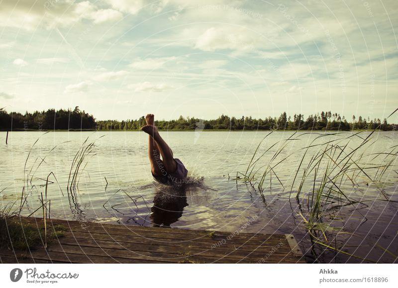 Sprung vom Steg in einen See, sommerliche Abkühlung Freude Schwimmen & Baden Ausflug Sommer Mensch maskulin Mann Erwachsene Jugendliche Leben Beine 1 Natur