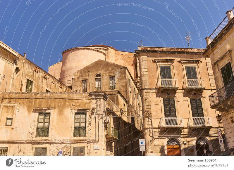 Altstadt von Syrakus Ferien & Urlaub & Reisen Sommer Sonne Haus Ferne Fenster Architektur Wand Gebäude Mauer Fassade Kirche Italien Abenteuer Dach Bauwerk