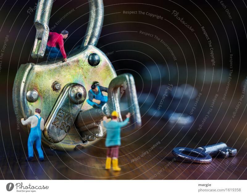 Miniwelten - Schlüsseldienst blau braun Technik & Technologie Baustelle Dienstleistungsgewerbe Arbeitsplatz Handwerker