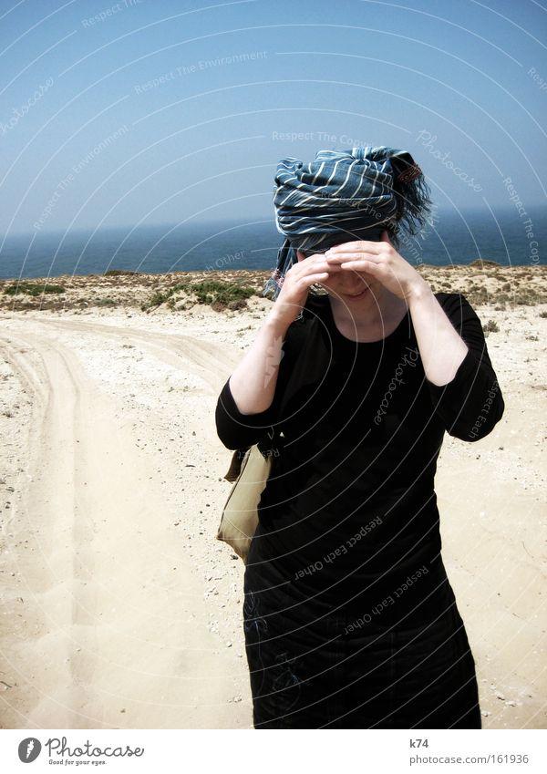 Imesouane Sommer Strand Ferien & Urlaub & Reisen Straße Wärme Sand Küste Brand Reisefotografie Afrika Schutz heiß Schal Durst Kopftuch Marokko