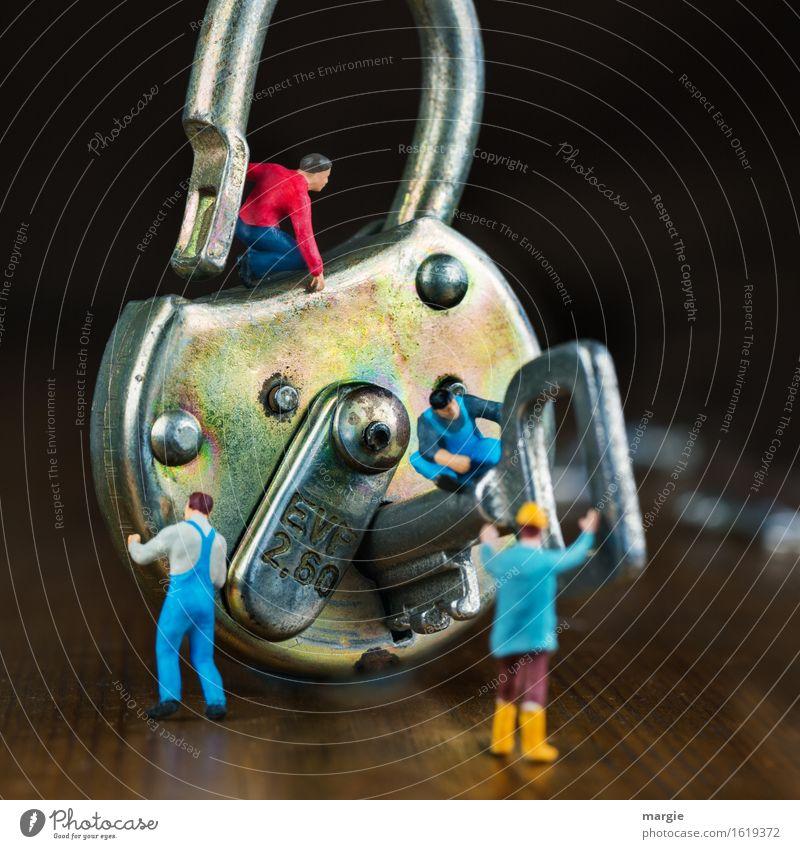 Miniwelten - Schlüsseldienst II blau braun Arbeit & Erwerbstätigkeit Baustelle Beruf Dienstleistungsgewerbe Arbeitsplatz Handwerker