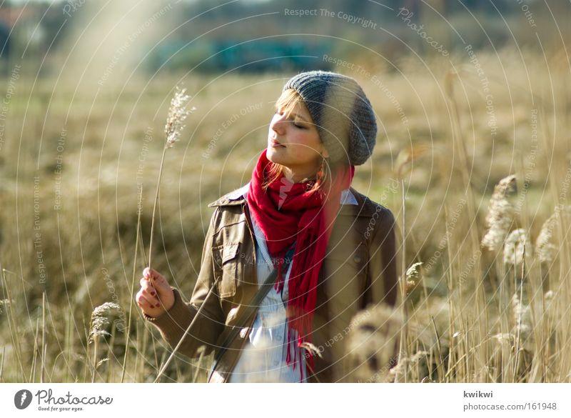 wiese + frühling Glück Zufriedenheit Erholung Sommer Frau Erwachsene Landschaft Frühling Wiese Mütze beobachten Blühend entdecken träumen dehydrieren Stroh