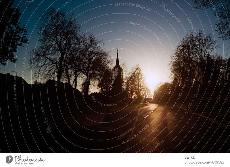 Holzdorf, Sachsen-Anhalt Wolkenloser Himmel Horizont Klima Schönes Wetter Wärme Baum Deutschland Dorf Skyline bevölkert Haus Kirche Gebäude Kirchturm