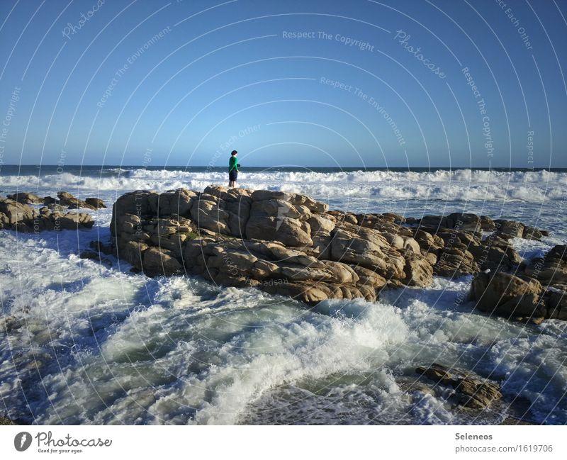 Flut Mensch Himmel Natur Ferien & Urlaub & Reisen Wasser Sonne Meer Landschaft Ferne Strand Umwelt natürlich Küste Freiheit Horizont Tourismus