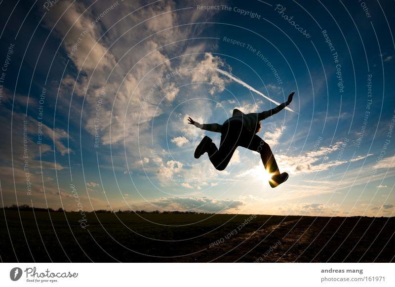 ride the sun springen Sonne Stil Aktion Wege & Pfade Feld Freiheit Himmel Freude Luftverkehr genießen Spielen