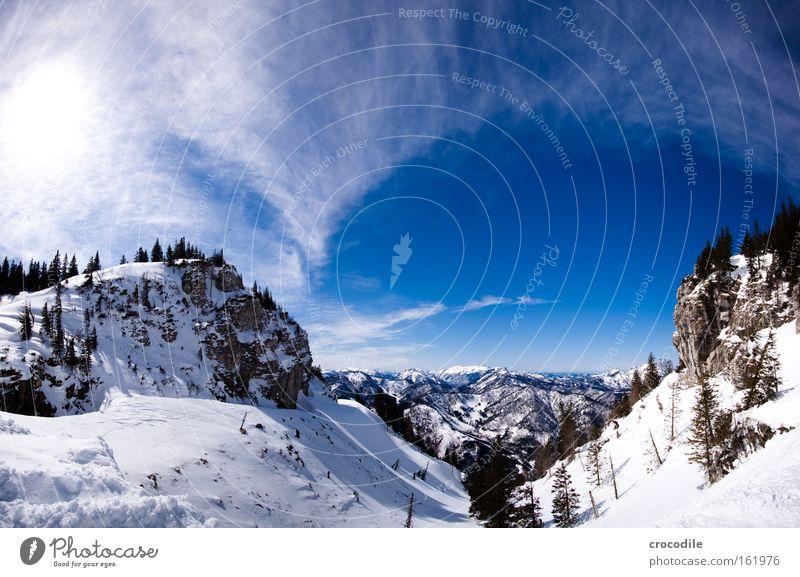 Snowboarders Paradise Himmel Baum Winter Wolken Schnee Berge u. Gebirge groß Alpen Aussicht Wintersport Baumkrone Österreich Tal Wäldchen