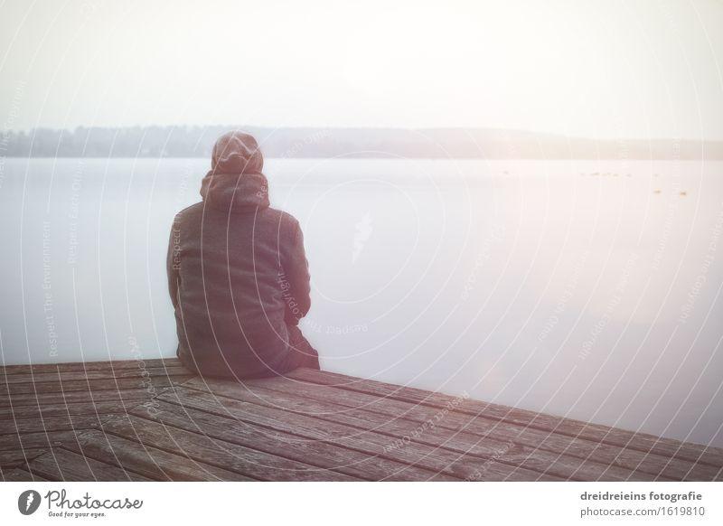 Abendsonne am Horizont Mensch Himmel Natur Ferien & Urlaub & Reisen Wasser Landschaft ruhig Winter Gefühle natürlich Gesundheit Glück Freiheit See Idylle