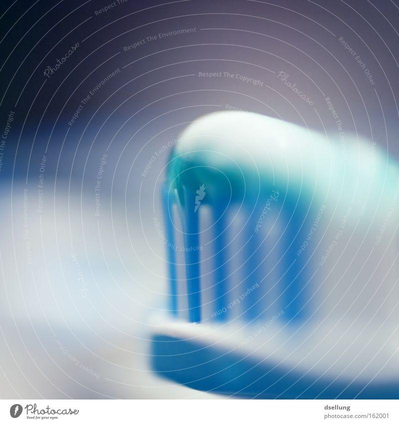 Blaue Zahnbürste mit Zahnpasta - Nahaufnahme Zahncreme Zahnpflege Makroaufnahme Gesundheit Sauberkeit Zähne Farbfoto Morgen Körperpflege Reinigen