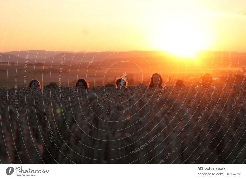 6-köpfig Mensch maskulin feminin Junge Frau Jugendliche Junger Mann Freundschaft Menschengruppe 18-30 Jahre Erwachsene Umwelt Natur Landschaft Horizont Sonne