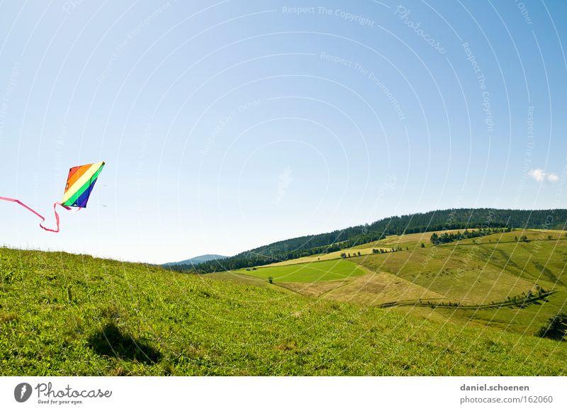 Schauinsland ohne Schnee Wind Lenkdrachen Kiting Farbe mehrfarbig Sommer Luftverkehr Wetter Licht Himmel blau Frühling Spielen