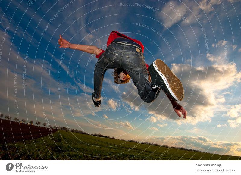 field jumper Himmel Sonne Freude Spielen Freiheit Wege & Pfade springen Stil Feld Luftverkehr Aktion genießen