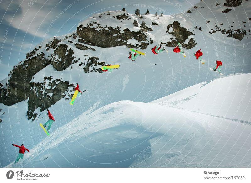 ab in die Luft Winter Berge u. Gebirge Schnee Stil Felsen springen Luft hoch Coolness Mut Doppelbelichtung abwärts Schneelandschaft Berghang rotieren Snowboard